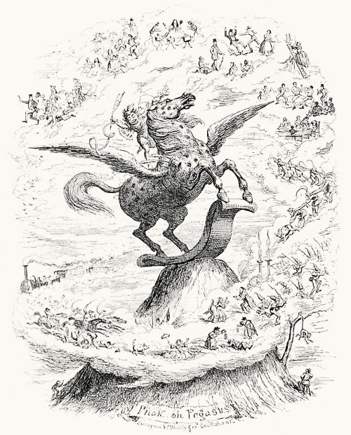 George Cruikshank, frontispiece from Puck on Pegasus, by  Henry Cholmondeley-Pennell, illustrated by John Leech, John Tenniel et al, London, 1868.  (Source: archive.org)