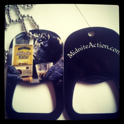 Custom #MIDNITEACTION DOGTAG bottle openers now available in our online store www.MIDNITEACTION.com