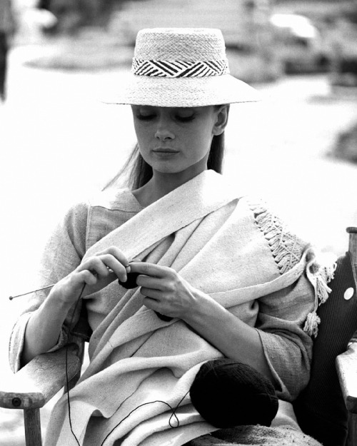 20th-century-man:  Audrey Hepburn; waiting on the set during production of John Huston's The Unforgiven (1960)