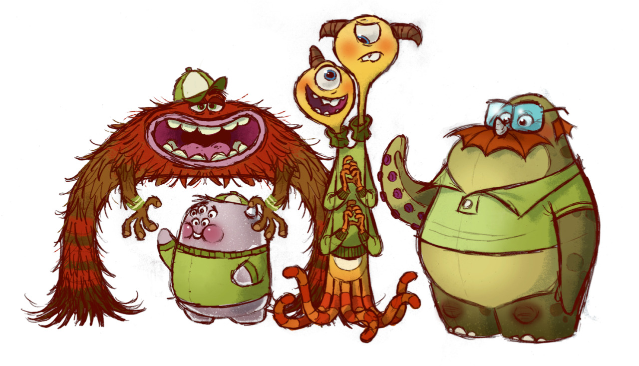 "disneypixar:  Visual development character art of the OK fraternity, ""Monsters University,"" 2013."
