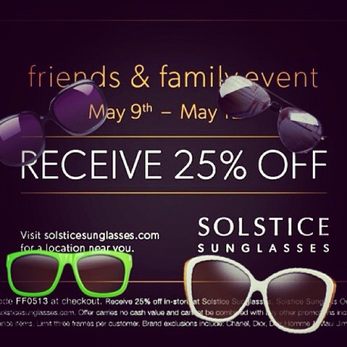 Attention everyone that always asks for a discount on sunglasses!! It's 25% off for friends and family until Sunday! You don't event have to come to my store. My faraway friends can use it in their hometown too ^.^ #sunglasses #solstice #summertime