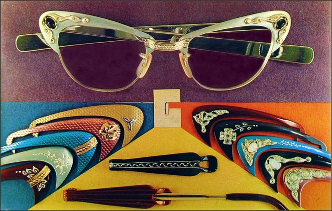 Eyeglasses style options, 1960s postcard