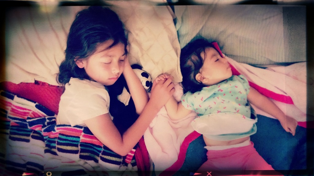 Two very tired little girls after ArtWalk in Little Italy yesterday. 💘