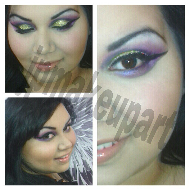 Purple and gold glitter. @riaaa13 #jpmakeupart #mua #makeup #makeupartist #beauty #beat #bennye #fashion #glitter #purple #eyeshadow #lipstick #mac #macgirls #instacool #lashes #latina #maria #bronzer #blush #brushes #cateye #glam