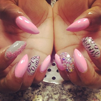 pheonixnails:  #pointed #pink #pretty #stelettos #slanted #leapoard #print #scattred #caviar #concretegrey #diamontes #crystals #mixed #shape #nailporn #nails #nailart #pointed #follow #us #on #instagram #instalikes #instanails #instafollwers #tumblr #twitter #facebook