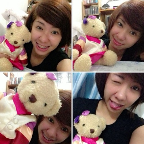 at @michelleocta crib with Vinya the sujong bear hahahA