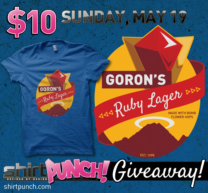 "rachaelmakesshirts:  The $10 ""Ruby Lager"" Zelda parody shirt sale is live! Go check it out at ShirtPunch.com. It's only available at this price for 24 hours, so hurry before time runs out! I'm also doing a giveaway with this shirt on my Facebook Page until 4PM!"