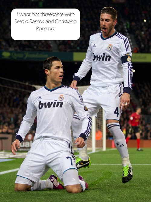 sexualfootballblog:   I want hot threesome with Sergio Ramos and Christiano Ronaldo.