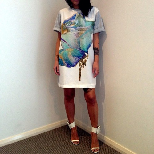 joyhysteric:  @josh_goot Mini tee dress in marble rose white instore now at @joyhystericboutique! Call or email to purchase x (at Joy Hysteric)
