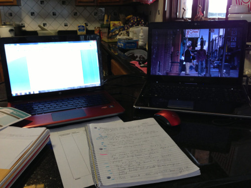 My set up right now for homework. Lol one for Netflix, one to type my essay. Lmao