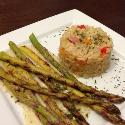 Lemon Pepper Asparagus with Rice #vegan #vegansofig #whatveganseat #plantstrong #veganfoodshare