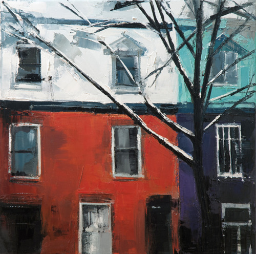 the row houses near a small park on st. Christophe oil on canvas, 16x16