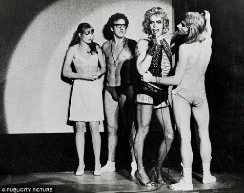 Publicity Photo of the Original London Cast of The Rocky Horror Show Belinda Sinclair (as Janet), Christopher Malcolm (as Brad), Tim Curry (as Frank-N-Furter), Rayner Bourton (as Rocky)