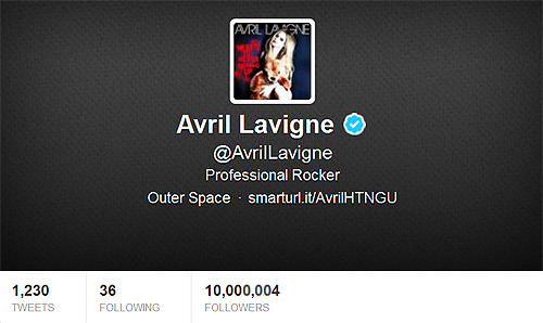 avrilgif:  Avril reached 10 million followers on Twitter!! :D
