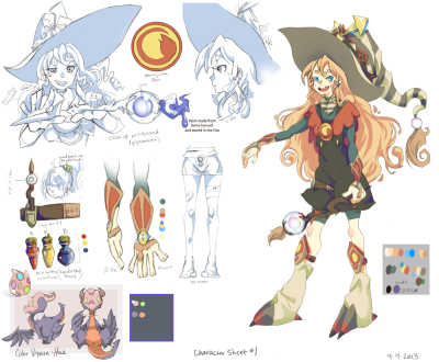 Art Witch Character sheet #1 for my school comic/animation.