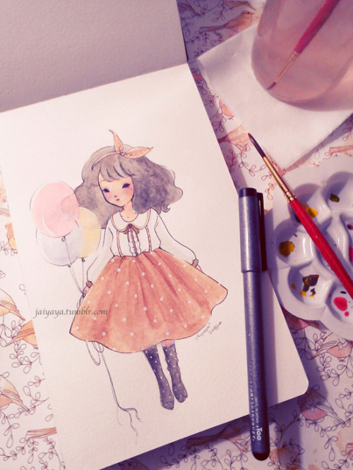 Watercolor practice by jAiyaya (http://jaiyaya.tumblr.com) ❤ More Doodles/Cute Stuff? ❤