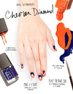 sephora:  THE TIP-OFF: CHEVRON DIAMOND NAILS WITH PIERRE HARDY FOR NARS Mia Rubie, nail artist and owner of Sparkle San Francisco, created custom nail designs for the Sephora Glossy. STEP ONE Swipe on base coat. STEP TWO Create a V-shape on the nail tip using Pierre Hardy for NARS Ethno Run Left (the orange), pointing away from your hand. STEP THREE Add a V-shape near the cuticle pointing toward your hand with Ethno Run Right (the blue)—leaving a clear diamond shape in the center of the nail bed. Use a liner brush on the second coat to touch up. STEP FOUR Finish with clear topcoat. AMP IT UP For the look seen on the pointer finger and ring fingers, paint the top left nail tip Ethno Run Right and the top right tip Ethno Run Left, forming an outward-facing V-shape. Paint the right side of a triangle on the cuticle with Ethno Run Right and the left side with Ethno Run Left, leaving a clear chevron shape between the tip and cuticle. TIP: For increased precision, use an eyeliner brush. And for increased pigment, apply two coats. – KELLEY HOFFMAN SHOP PIERRE HARDY FOR NARS HERE ▸