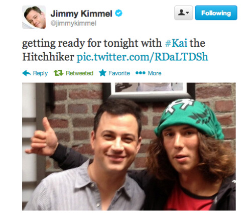 Tonight, Jimmy Kimmel interviews Kai the Hatchet-Wielding Homeless Hitchhiker.