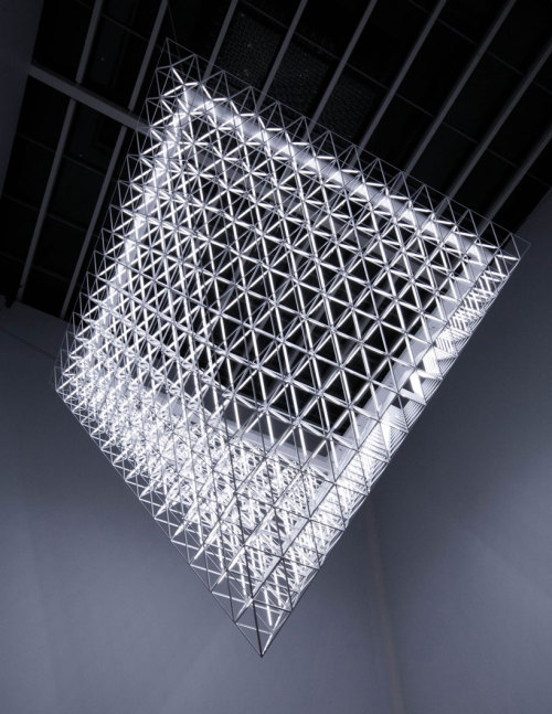 enochliew:  Fragment by United Visual Artists 421 octahedron frames forming an inverted pyramid.
