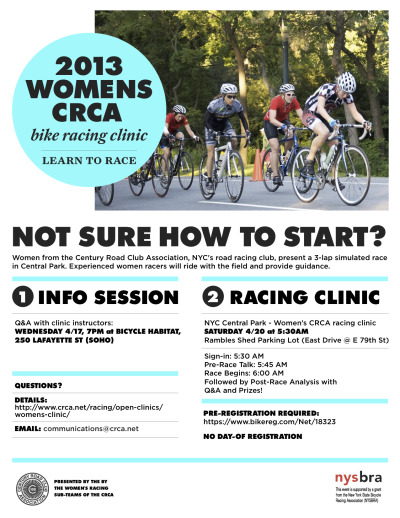 davejordanracing:  We support Women's racing 100%. Some of our current women took part in last year's women's clinic and two of them are in the flyer pictured above. If you'd like to try racing, but are unsure how to get started, check out the clinics put on by our club, @crca - http://www.crca.net/racing/open-clinics/womens-clinic/
