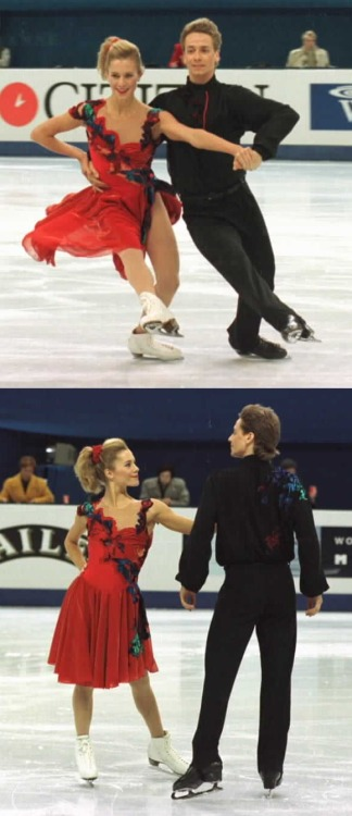 Shae-Lynn Bourne and Viktor Kraatz skating their Rhumba compulsory at the 1997 Worlds. Photos by Barry Mittan. www.jbmittan.com/skaterpix1997/9713124.JPG www.jbmittan.com/skaterpix1997/9713209.JPG