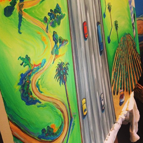 New #painting in #progress thanks to insomnia. #cars #freeway #palmtrees #orangecounty #artwork #originalart #oilpainting
