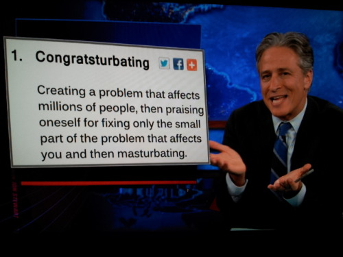 inothernews:  Jon Stewart coins a new verb just for members of Congress.