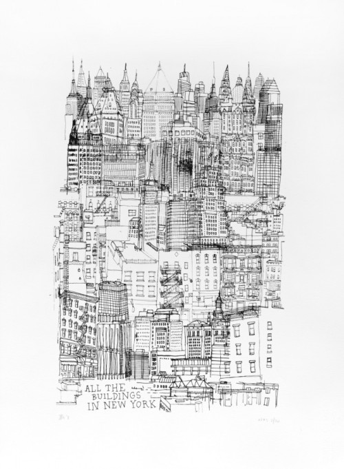 ohlili:  ALL THE BUILDINGS IN NEW YORK SCREENPRINT James Gulliver Hancock