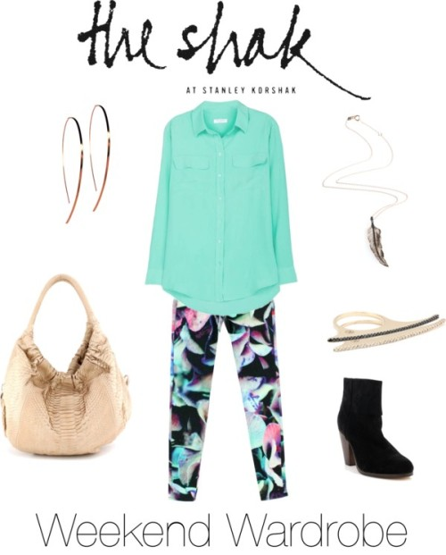 Brighten up your weekend with this look from The Shak. We're obsessed with these J Brand hydrangea print jeans and colorful Equipment silk top. Since we know that functionality and comfort is key, we have you covered with a roomy nude python bag by Presmer and black suede booties by Rag & Bone. Complete the look with some rose gold accents by Lana and Kismet by Milka, and you will be prepared to take on any weekend activity – day or night! Blousestanleykorshak.com  Jeansstanleykorshak.com  Shoulder bagstanleykorshak.com  Necklacestanleykorshak.com  Ringstanleykorshak.com  Ringstanleykorshak.com  Rag & Bone Rag and Bone Classic Newbury Bootiestanleykorshak.com  Lana Jewelry Large Flat Hooked on Hoops in Rose Goldstanleykorshak.com