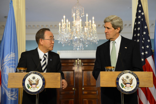 U.S. Secretary of State John Kerry and United Nations Secretary General Ban Ki-moon address reporters after their bilateral meeting at the U.S. Department of State in Washington, D.C., February 14, 2013. [State Department photo/ Public Domain]