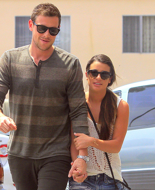 """He's mine.""   It seems like Lea wants to protect him from the paps"
