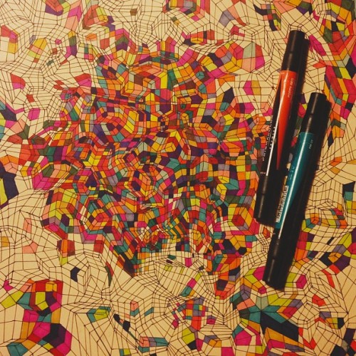 Cube Drawing (in process) #drawing #cube #geometric #art #marker #ink