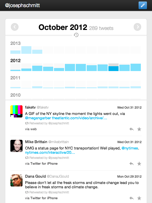 I made a thing that let's you browse your downloadable Twitter Archive from your computer, tablet, or phone. Check out the project on GitHub or read my writeup of why on earth I spent time on something like this.