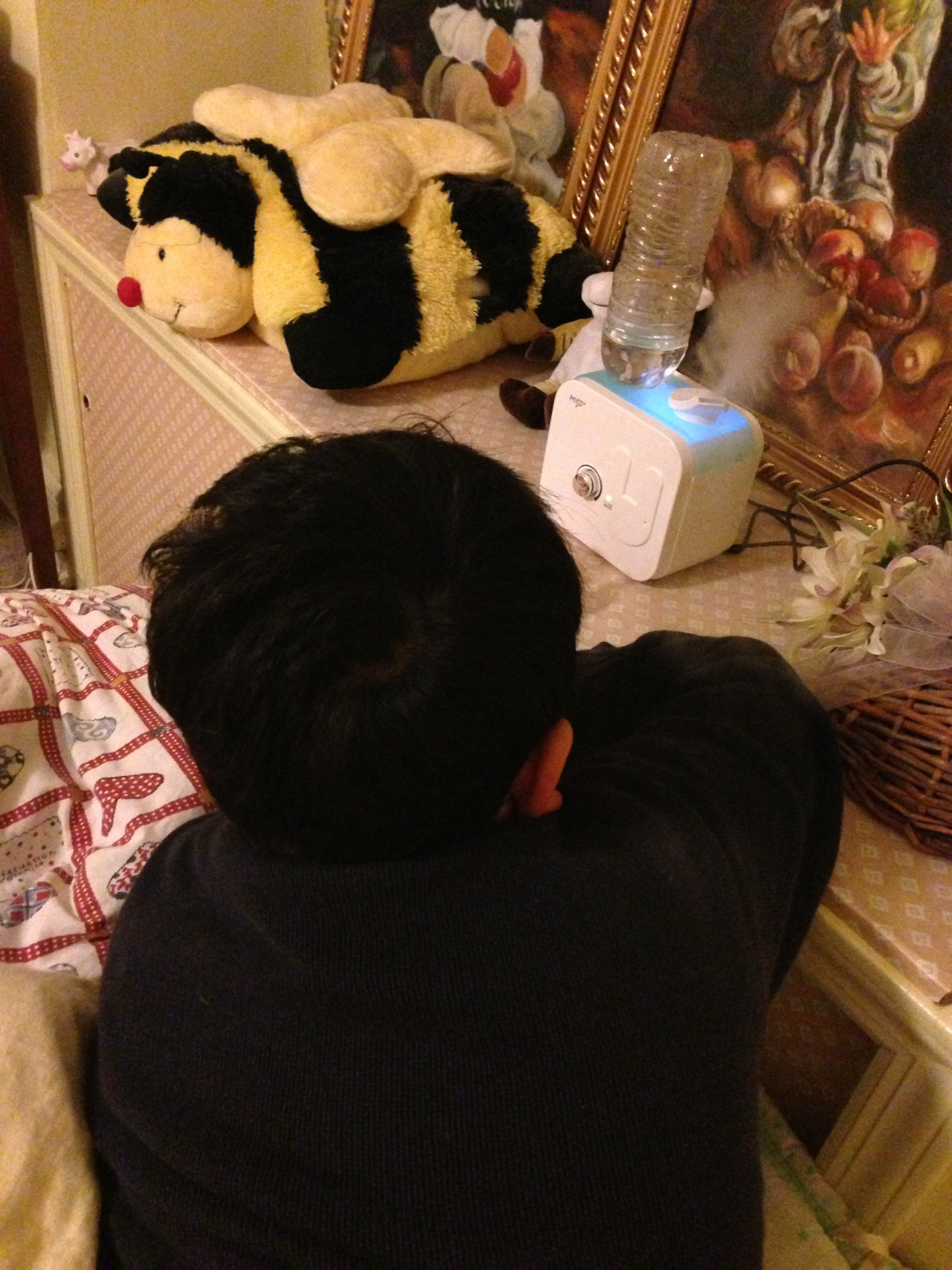 My cute brother. His cute Pillowpet. His cute humidifier. My cute painting of my cute brother?