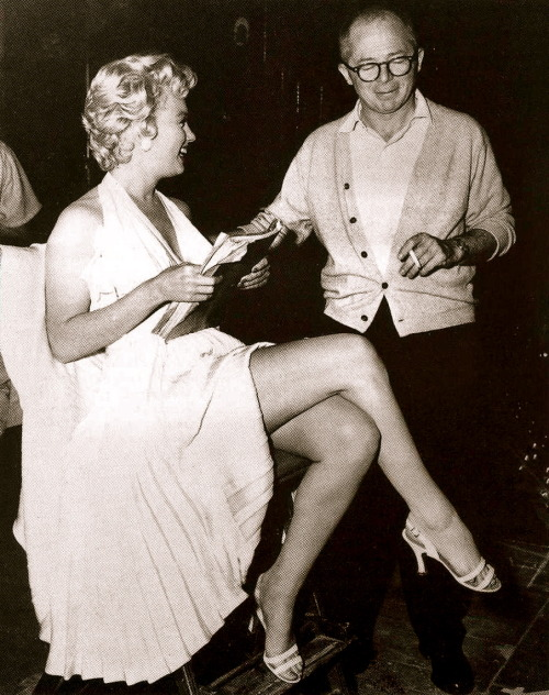 fuckyeahdirectors:  Marilyn Monroe and Billy Wilder on-set of The Seven Year Itch (1955)
