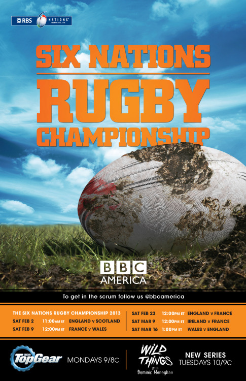 BBC AMERICA'S 2013 6 NATIONS CHAMPIONSHIP SCHEDULE RELEASED RBS 6 Nations Championship returns to BBC AMERICA. The legendary rugby tournament features England, France, Ireland, Scotland, Italy and Wales as they vie for the championship. Last year on the final day, Wales beat France 16-9 to win the Grand Slam, England placed second while Scotland were condemned to the Wooden Spoon as they finished last. This year, BBC AMERICA's first match, England v Scotland, airs LIVE Saturday, February 2, 11:00am ET.