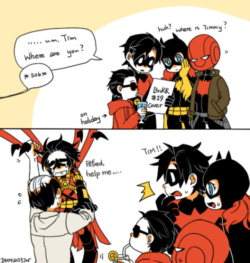 jojojody:  Where is Timmy….. but happy to see Carrie Kelley :')  Aww… so cute and sad ♥ Yeah, the issue really didn't feel like Batman & Red Robin at ALL :( & Tim's face at the end.. ;A;