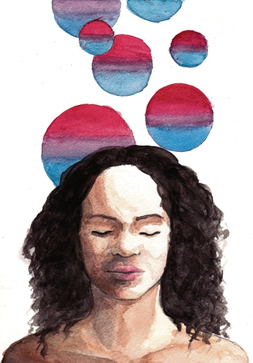 bidyke:  [Image: A watercolor painting of a black woman shown from the shoulders up. She's closing her eyes and smiling lightly. From her head rise spheres in bisexual flag colors.] OMG, would you look at this beautiful bi WOC artwork! :D (Source).