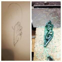 Very rough…but earring model in progress #jewelry #waxcarving #design