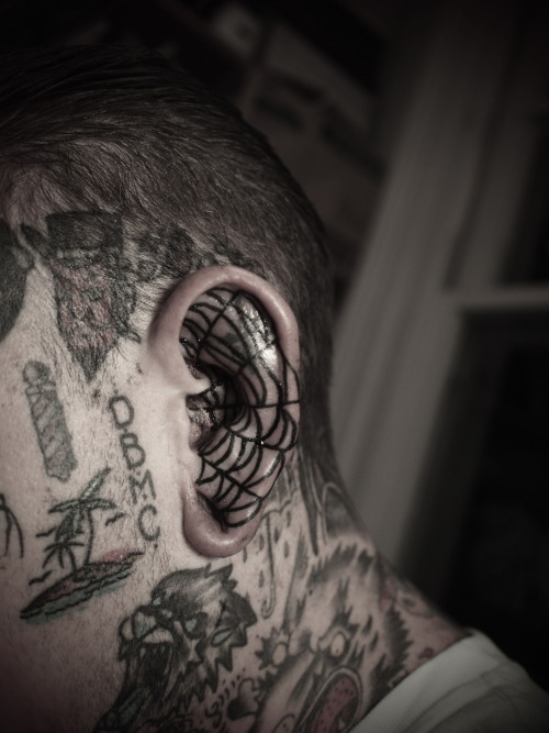 guyletatooer:  Ear spiderweb . Done on Barber Dan in Auckland .