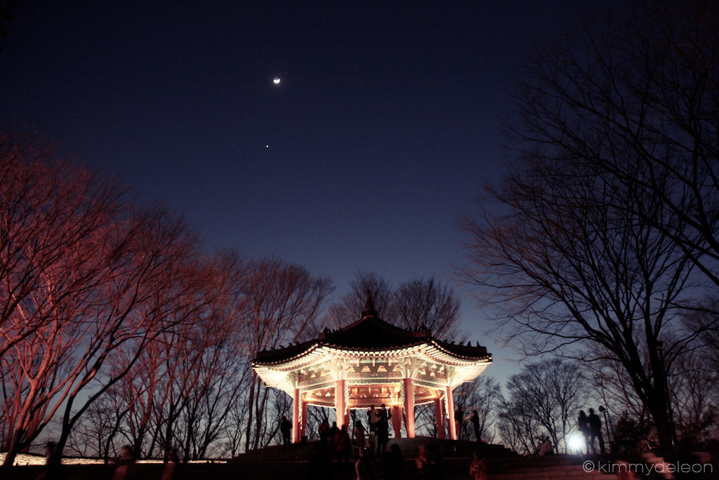 A Gazebo, A Moon, and A Star | N Seoul Tower, Seoul, South Korea The sun just left, the moon arrived and a star peek-a-booed.
