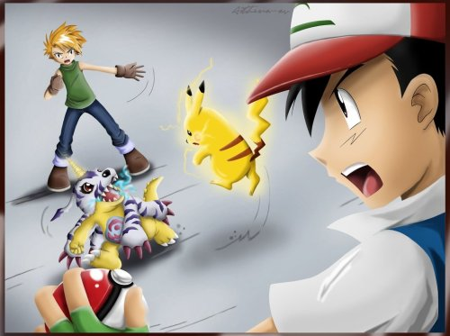 fyeahpokemonfanart:  Digimon vs Pokemon. Who will win this ultimate clash?