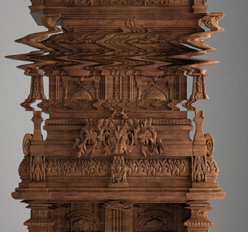 itscolossal:  Not photoshop. This wooden cabinet was purposely carved to look like a digital glitch by Ferruccio Laviani.