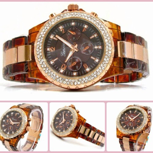 Tortoise & Rose Gold Watch! Super trendy!!! 💗  www.blingbeadz.co.uk