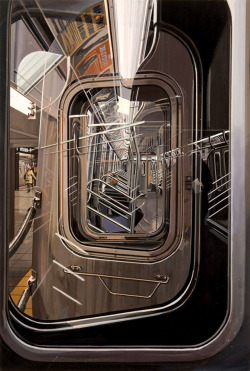 likeafieldmouse:  Richard Estes - The L Train (2009) - Oil on board