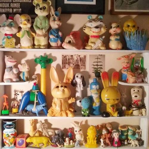 Studio coming together in Auburn, NY. #steven_cerio #stevencerio #studio #artiststudio #artist #toys #bunnies #collection