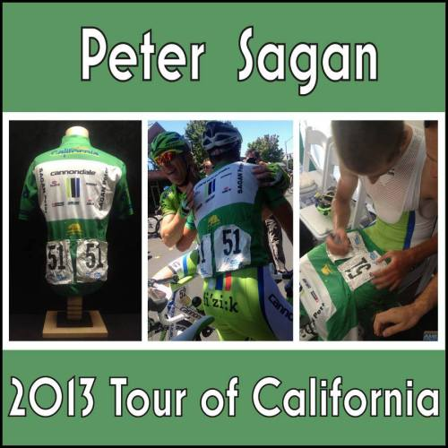 Peter SAGAN 2013 Tour of California - Stage 8 Race Worn Jersey Just a few hours ago, Peter was wearing this jersey as he sprinted to victory in the final stage of the Tour of California. A wonderful souvenir for our collection from a very talented, nice rider who has a very bright future ahead of him!  But … there's more to the story …  This one may have set a new record for quickest delivery after a race. He literally won the race, circled back to the finish line, then went into the green room. Before he drank any water, spoke with anyone from the press or went to the podium, he stripped off the jersey, signed and dated one of the numbers and it was in my hands. From the time he got off his bike to the time I was the new caretaker of his jersey: 2 minutes - tops!   Source: www.HortonCollection.com