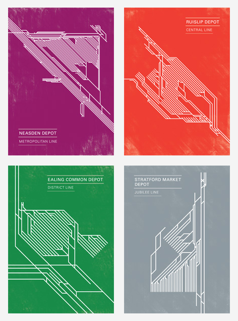 Beautifully minimalist line-drawing postcards of London Underground train depots. Complement with a pictorial history of how the Underground shaped London. via