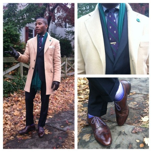 Shooting the @Indochino #camel #overcoat in #chestnuthill #philly and rockin @finsforhim cooper #brogues #shoes with #purple #laces! #style #menswear #fashion #winter photos by @cantwinklefty #picstitch Sabir M. Peele of www.MensStylePro.com