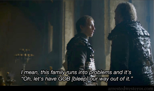 "arrestedwesteros:  GOB: I mean, this family runs into problems and it's ""Oh, let's have GOB [bleep] our way out of it. Let 'Em Eat Cake - 1x22 submission by OccupyWesteros"